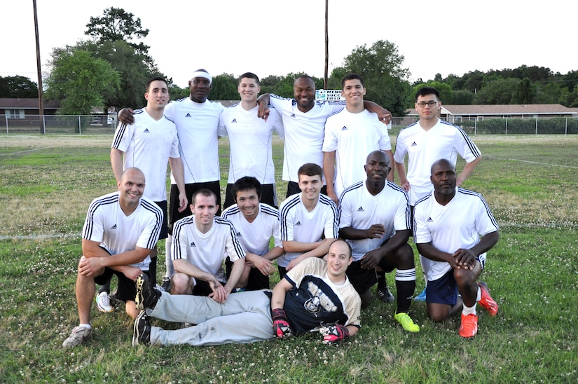 Congratulations to the Naval Health Clinic Charleston Docs soccer team for winning the 2014 Naval Weapons Station Charleston soccer championship May 19, after defeating the Naval Nuclear Power Training Command Grad Hold soccer team 2 - 1. Back row from left to right: Joseph Siegel, Brian Marsh, Anthony Salazar, Orville Clark, Matt Sartori, Peter Nguyen. Front row: Michael Camacho, Matt Calderon, Anh Nguyen, Aaron Brooks, Fred Nti, Sylvester McDonald. Goalie: Derek Meluzio. (U.S. Navy photo/Kris Patterson)