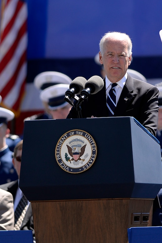 Vice President Joe Biden addresses the U.S. Air Force Academy Class of 2014 during commencement exercises at Falcon Stadium in Colorado Springs, Colo. May 28, 2014.  A total of 995 cadets will receive their commission.  (Air Force photo/ Mike Kaplan)