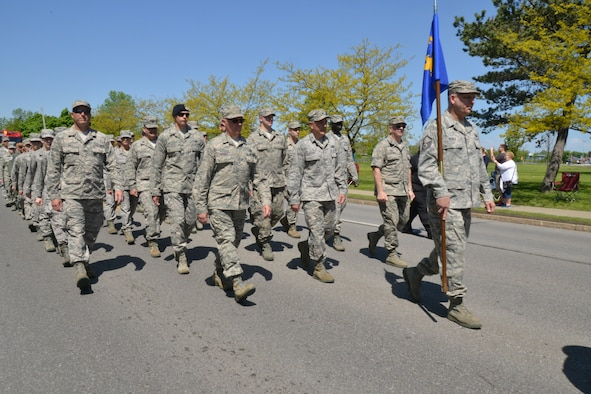 107th Airlift Wing marched in the annual Memorial Day parade in Niagara Falls, N.Y. on May 24, 2014. (U.S. Air National Guard Photo/Tech Sgt. Brandy Fowler)