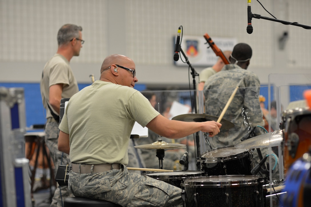 """MCGHEE TYSON AIR NATIONAL GUARD BASE, Tenn. - The Air National Guard's foremost 572nd Air Force Band, or """"Band of the South"""" - its 41 musicians - perform their final practice session at the I.G. Brown Training and Education Center's Wilson Hall here May 28, before they kick off a fresh and tuneful, summer 2014 tour. The Band of the South will appear for nearly a dozen, toe-tapping concerts June 28 through July 4, including Virginia Beach, Va., Charleston Harbor, S.C., and Panama City Beach, Fla.  (U.S. Air National Guard photo by Master Sgt. Kurt Skoglund/Released)"""