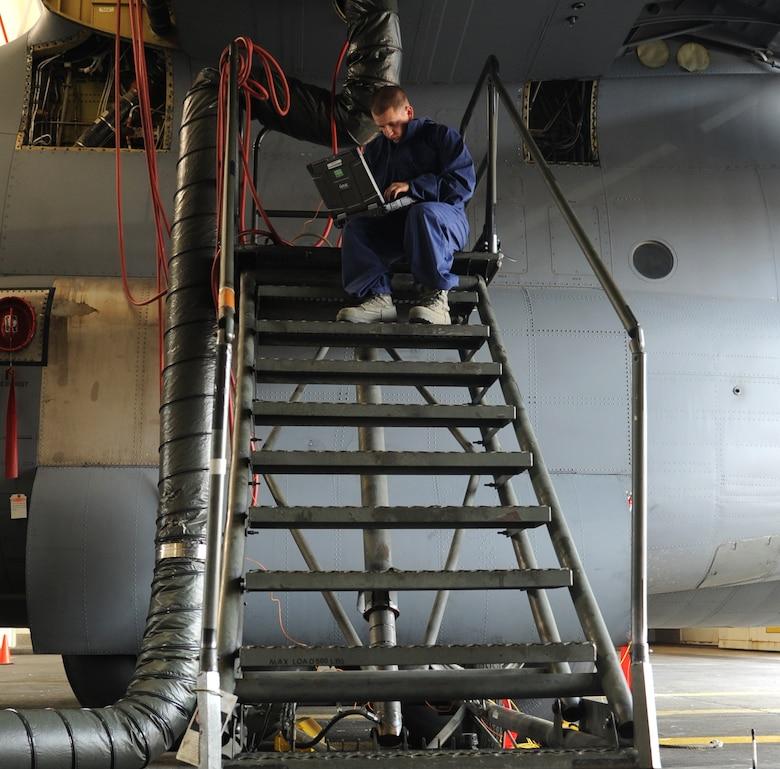 Senior Airman Richard Gates, a 19th Maintenance Group fuels system repair technician, uses a