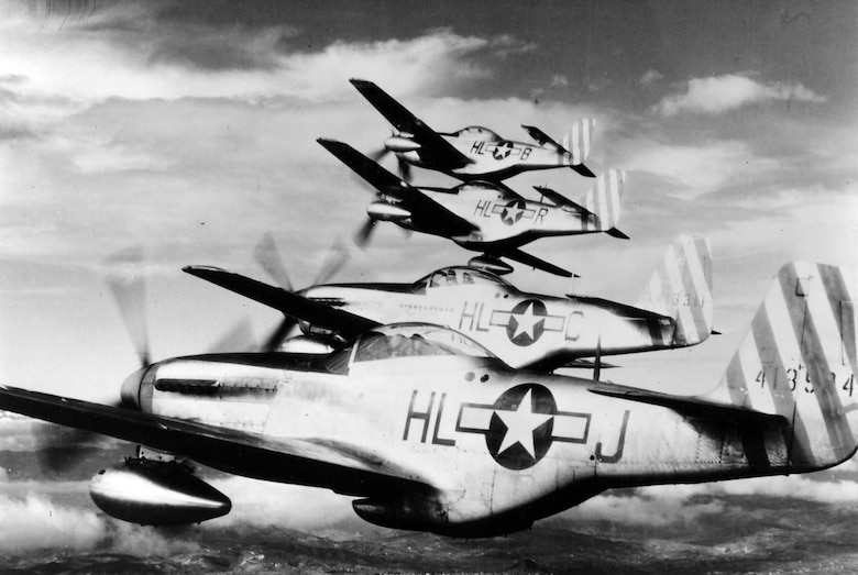 The sleek, highly maneuverable P-51 proved ideal for long range escort missions and an equal match to the Luftwaffe's fighters. Pilots who flew it praised its maneuverability and visibility during close order engagements with enemy fighters. (Department of Defense photo)