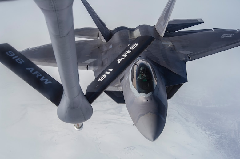 An F-22 Raptor pilot from Joint Base Elmendorf-Richardson, Alaska, approaches a KC-135 Stratotanker to be refueled May 19, 2014, over the Joint Pacific Alaska Range Complex, or JPARC, during Red Flag-Alaska 14-1. The JPARC is composed of extensive military operations areas, special use airspace and ranges for a total of more than 67,000 square miles of airspace. (U.S. Air Force photo/Senior Airman Joshua Turner)