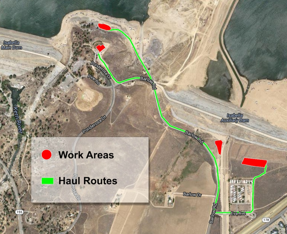 A map shows the location of work areas and haul routes for materials investigation at Isabella Lake as part of the U.S. Army Corps of Engineers dam safety modification project.