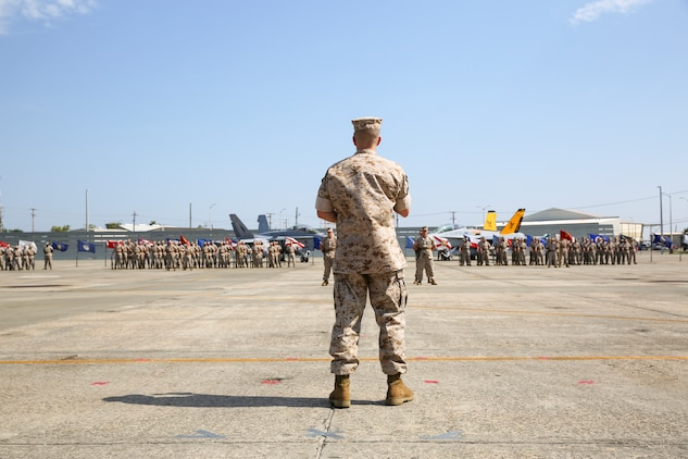 Lieutenant Colonel Michael Margolis, the new commanding officer for Marine Aviation Logistics Squadron 31, addresses Marines of MALS-31 during a change of command ceremony aboard Marine Corps Air Station Beaufort, May 22.