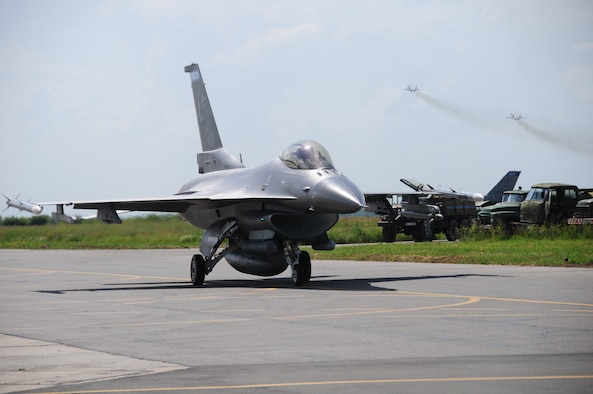 A 148th Fighter Wing, Minnesota Air National Guard F-16 prepares to take flight during Thracian Star 2014. Exercise participants include Bulgaria, Hellenic and Romanian Air Forces, along with the Minnesota and Tennessee Air National Guard. (U.S. Air Force photo/ Capt. Jodi Kiminski)