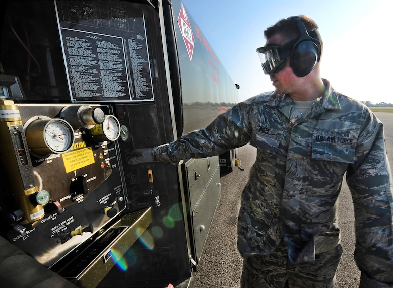 Staff Sgt. Michael Dietz, 1st Special Operations Logistics Readiness Squadron fuels craftsman, checks the gauges on a fuel truck at Hurlburt Field, Fla., May 20, 2014. Dietz was preparing to refuel a CV-22 Osprey. (U.S. Air Force photo/Staff Sgt. Jeff Andrejcik)