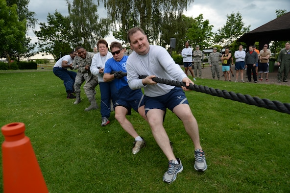 U.S. Air Force Airmen from the 52nd Medical Group compete in the leadership tug-of-war during wing sports day May 29, 2014, at Spangdahlem Air Base, Germany. The 52nd MDG took home first-place in the competition. (U.S. Air Force photo by Staff Sgt. Joe W. McFadden/Released)