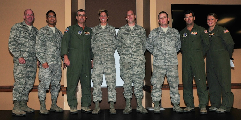 "(From Left) Lt. Col. Hoyt Slocum, 161st Air Refueling Wing inspection team chief; Maj. Gilbert Besana, 161st Aircraft Maintenance Squadron commander; Lt. Col Jim Gloss, 197th Air Refueling Squadron commander; Tech. Sgt. Bethany Skaritka, 161st Maintenance Group crew chief; Staff Sgt. Chris Hostetler, 161st Maintenance Group crew chief; Staff Sgt. Nick Savasta, 161st Maintenance Group crew chief; Capt. John Smith, 161st Operations Group pilot; Maj. Tami Demik, 161st Air Refueling Wing safety officer. Maintenance leadership and aircrew present the 161st safety award to these crew chiefs for ""outstanding action"", Phoenix, Nov. 2, 2014. ""The working relationship between Maintenance and Operations is integral to successful mission accomplishment, both during home station training and global operations,"" said Maj. Tami Demik, 161st Air Refueling Wing safety officer. ""Maintaining a positive and proactive safety culture, and employing accurate risk management techniques, allow the 161st Air Refueling Wing to deliver 100% mission effectiveness."" (U.S. Air National Guard Photo by Tech. Sgt. Courtney Enos/Released)"