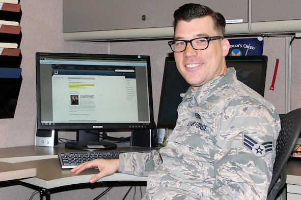 Senior Airman Chris Jones, wo was promoted to staff sergeant two days after this photo was taken, sits at a computer console in the 127th Communications Squadron at Selfridge Air National Guard Base, Mich., Oct. 30, 2014. Jones recently joined the Michigan Air National Guard and works as a Cyber Systems Operator. He previously worked in the intelligence career field as an active duty member of the U.S. Air Force. (U.S. Air National Guard photo by Tech. Sgt. Dan Heaton)