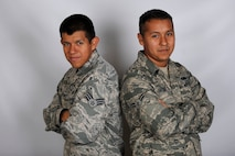Senior Airman Juan Antonio, left, is stationed with his brother, Airman 1st Class Antonio Antonio, at Langley Air Force Base, Va. Both brothers made senior airman below-the-zone. Juan is a 633rd Force Support Squadron services apprentice and Antonio is a 439th Supply Chain Operations Squadron A-10 Thunderbolt II mission capable technician.  (U.S. Air Force photo/Staff Sgt. Natasha Stannard)