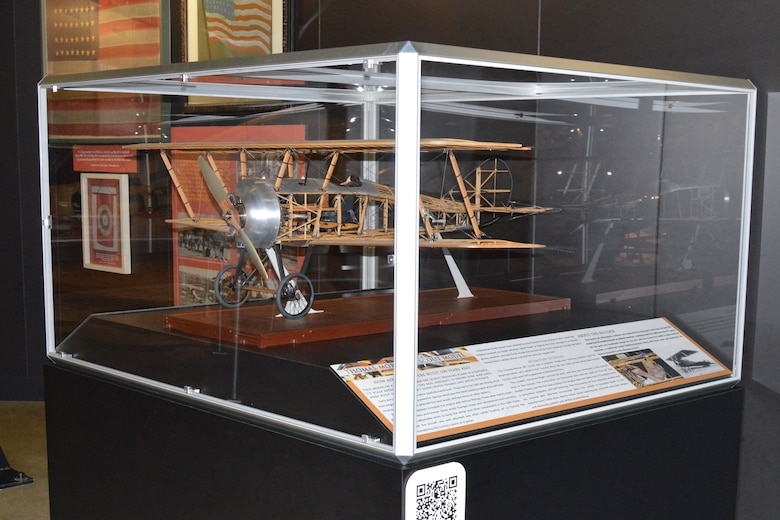 DAYTON, Ohio -- Aircraft model of a Thomas-Morse S4C Scout trainer on display in the museum's Early Years Gallery. Model maker Don Gentry of Indianapolis, Ind., was inspired to create this by the museum's real Scout aircraft. (U.S. Air Force photo)