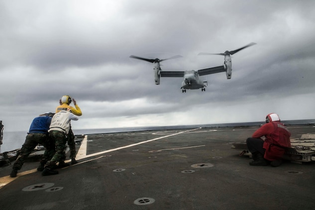 An MV-22B Osprey conducts landing and take-off drills on the USS Germantown (LSD 42) Nov. 1 during exercise Blue Chromite 15. Blue Chromite demonstrates the Navy and Marine Corps' amphibious and expeditionary capabilities from the sea. The aircraft is with Marine Medium Tiltrotor Squadron 265, Marine Aircraft Group 36, 1st Marine Aircraft Wing, III Marine Expeditionary Force.