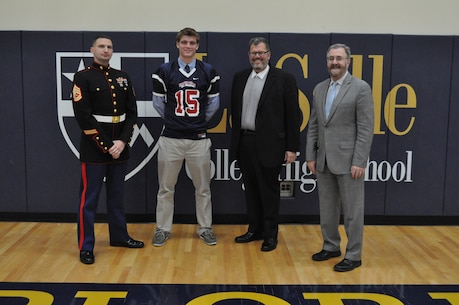 Kyle Shurmur, a senior quarterback at La Salle College High School, was selected for the 2015 Semper Fidelis All-American Bowl, which will be played on Sunday, January 4, 2015 at the StubHub Center in Carson, CA and will feature the nation's brightest and best high school football players. Kyle is one of 45 players chosen to represent the East Coast in the East-West showdown which is sponsored by the United States Marine Corps and will be broadcasted live on Fox Sports 1.