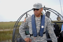 Brig. Gen. C. David Turner, commanding general of the USACE South Atlantic Division, takes a tour of the Everglades via airboat during his recent visit to south Florida.