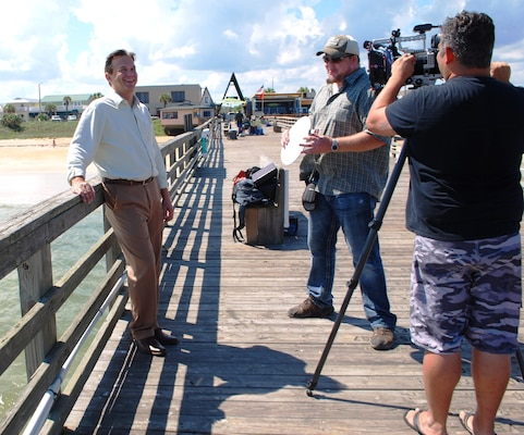 Jason Engle chats with Big Monster Entertainment film crew prior to an hour-long interview on the Flagler Beach pier.