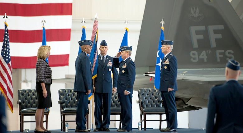 Secretary of the Air Force Deborah Lee James and U.S. Air Force Vice Chief of Staff Gen. Larry O. Spencer welcome Gen. Hawk Carlisle as commander of Air Combat Command during the change of command ceremony at Langley Air Force Base, Va., Nov. 4, 2014.  Prior to taking the reins as commander ACC Carlisle led the Pacific Air Forces from August 2012 to October 2014. (U.S. Air Force photo by Sachel Seabrook/Released)