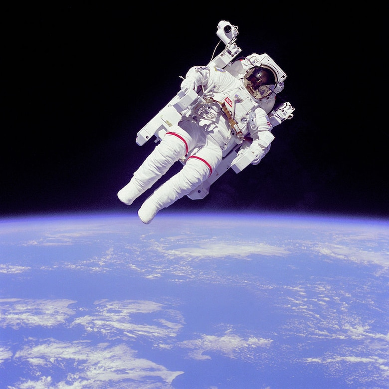NASA Astronaut Bruce McCandless became the first person to make an untethered spacewalk during STS-41-B in 1984. (NASA photo)