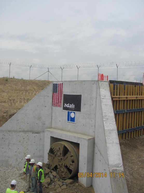 The U.S. Army Corps of Engineers and international contractors finished construction a water diversion tunnel under the runway at Bagram airbase in May 2014. The tunnel diverted significant spring runoff from nearby mountains and enabled flight operations to continue unimpeded by airfield flooding.