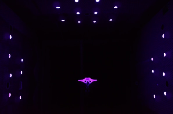 The dynamic PSP was used on the Lockheed Martin V7 model, a 1980s Advanced Tactical Fighter concept, to measure the acoustic pressure levels in the bay. This photo shows the illumination of the model by the purple LEDs.