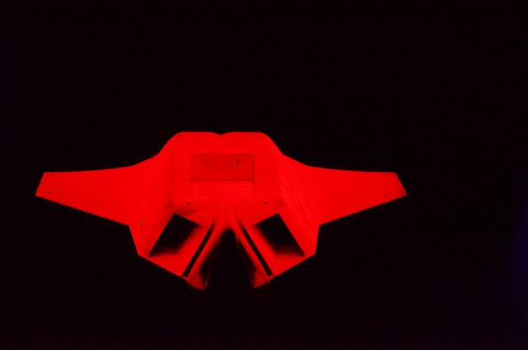 The model glows bright red as a result of the fluorescent light emitted by the PSP.