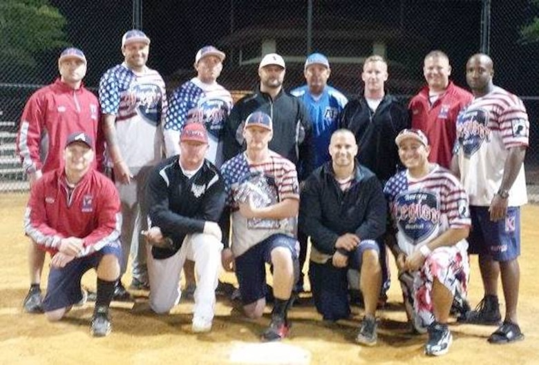 Tyndall's American Legion softball team get together for a group photo during the Freedom Sports Military World Softball Championship. The team won the championship that was hosted in Valdosta, Ga., from Oct. 3 to 5. (U.S. Air Force courtesy photo)