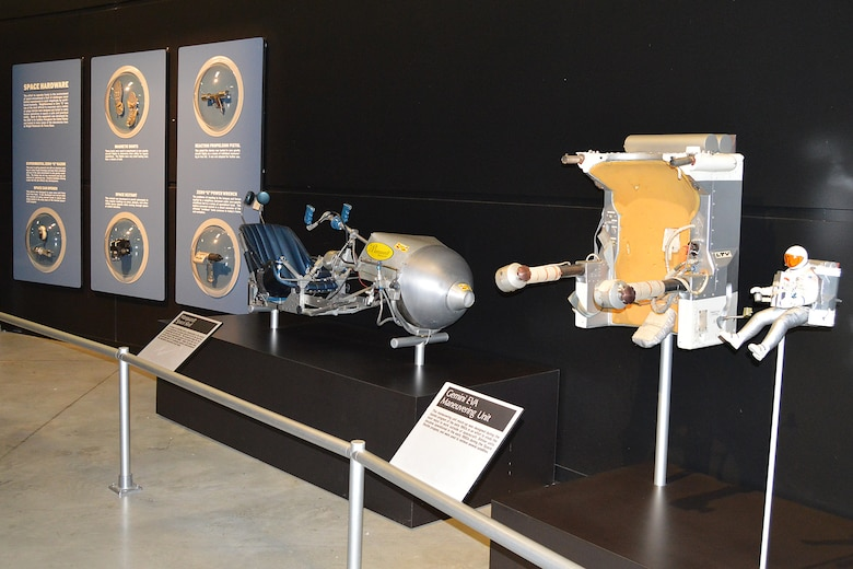 DAYTON, Ohio -- Space Hardware, Marquardt Space Sled and Gemini EVA Maneuvering Unit on display in the Missile and Space Gallery at the National Museum of the United States Air Force. (U.S. Air Force photo)