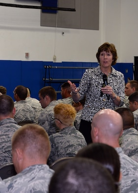 Anne Munch, a recognized subject matter expert for consulting, training and speaking on sexual assault, domestic violence and stalking, speaks to enlisted members during an all-call Nov. 5, 2014, at Andersen Air Force Base, Guam. Munch focused her brief on clarifying the terms of consent and other factors in sexual assault cases. (U.S. Air Force photo by Airman 1st Class Amanda Morris/Released)