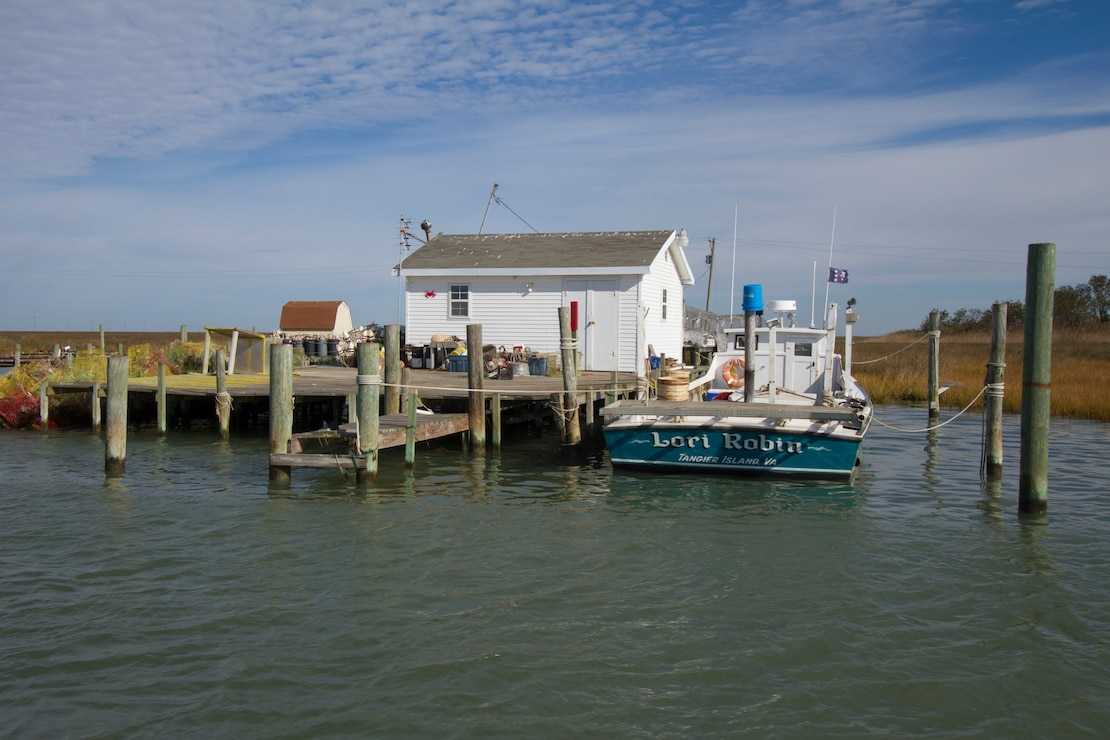 TANGIER, Va. – The Lori Robin, a Tangier Island based waterman boat sits dockside in the island's harbor here November 3, 2014. The Norfolk District, U.S. Army Corps of Engineers is working on a breakwater that will help protect the boats and shacks in the harbor from damaging wave attack during coastal storms. (U.S. Army photo/Patrick Bloodgood)