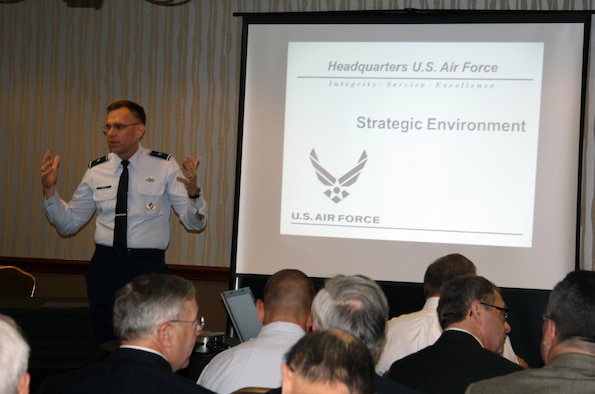 Brig. Gen. Timothy Green welcomes past and present civil engineers to the Air Force Directorate of Civil Engineers' annual Founders Day Oct. 30, 2014, in Crystal City, Va. During the founders forum the attendees were provided with an overview of the current Air Force strategic outlook for CE. Green is the Air Force director of civil engineers, deputy chief of staff for logistics, installations and mission support. (U.S. Air Force photo/Erin Maloney)