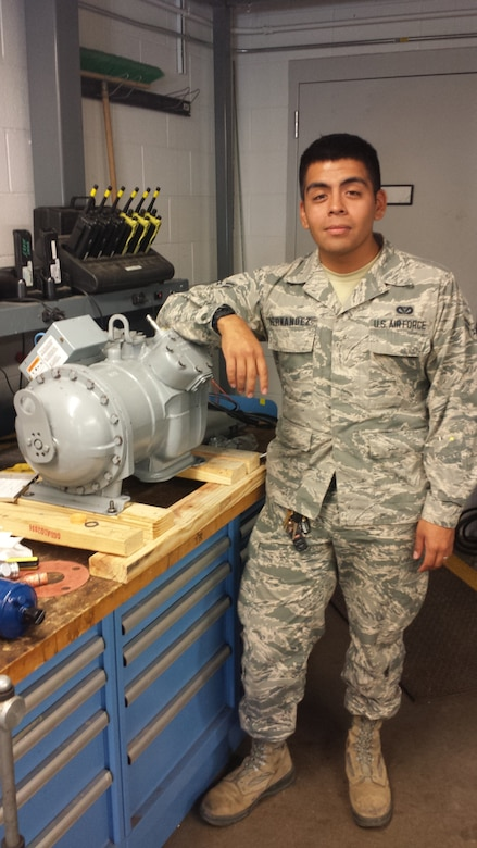 Airman 1st Class Jose Hernandez, 460th Civil Engineer Squadron, has been presented as the Top Panther Performer for the week of Nov. 2 – 8. (courtesy photo)