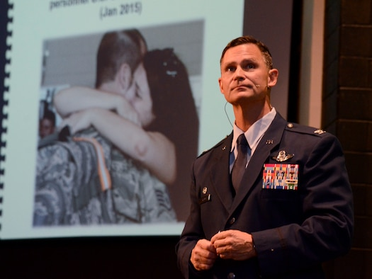 Col. Brett Clark, 94th Airlift Wing commander, speaks to a crowd of business professionals about Dobbins Air Reserve Base mission at the Acworth Business Associations monthly meeting held in Acworth, Ga. Nov. 6, 2014. (U.S. Air Force photo by Don Peek/Released)