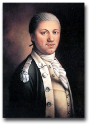 Portrait of Maj. Samuel Nicholas that hangs in the Commandant's house was originally created by Maj. Donna J. Neary, USMCR, in 1989. The likeness was produced with reference to antique miniatures and other sources.