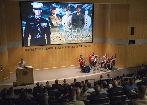 A birthday video featuring the Commandant and Sgt. Maj. of the Marine Corps is played during DIA's celebration of the 239th Marine Corps birthday.