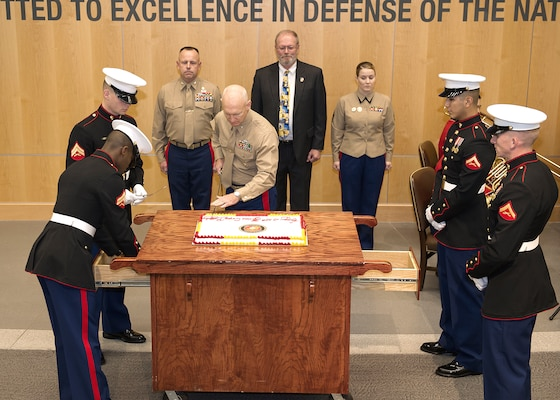 A time-honored cake cutting ceremony took place during the 239th Marine Corps birthday celebration.