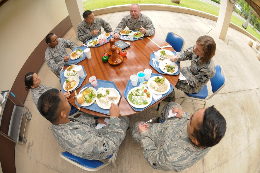 U.S. Air Force Chief Master Sgt. James W. Hotaling, command chief master sergeant of the Air National Guard, shares the lunch hour with Airmen of the 154th Wing, Hawaii Air National Guard, at Joint Base Pearl Harbor Hickam on Nov. 9, 2014. The luncheon provided an opportunity for the Airmen to share their various experiences with the Guard. (U.S. Air National Guard photo by Airman 1st Class Robert Cabuco)