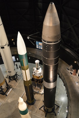 DAYTON, Ohio -- The Boeing LGM-118A Peacekeeper missile on display in the Missile & Space Gallery at the National Museum of the U.S. Air Force. (U.S. Air Force photo)