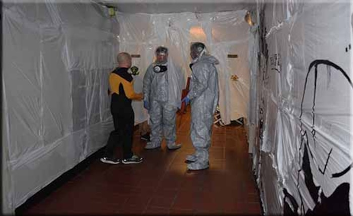 Viral Containment Checkpoint Halloween 2014. Captain Cronin has beamed down to check the status of the viral containment units.