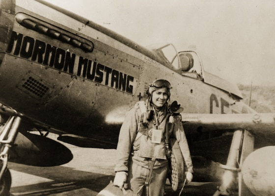 A vintage photo of retired Brig. Gen. Roland R. Wright, whose plane was named the Mormon Mustang. A Utah air base will be renamed in his honor on Nov. 18 2014.
