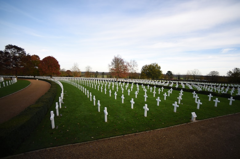 Rows of crosses line the Cambridge American Cemetery, England, Nov. 11, 2014. The cemetery was dedicated in 1956 as the final resting place of 3,812 American service members. (U.S. Air Force photo/Staff Sgt. Jarad A. Denton)