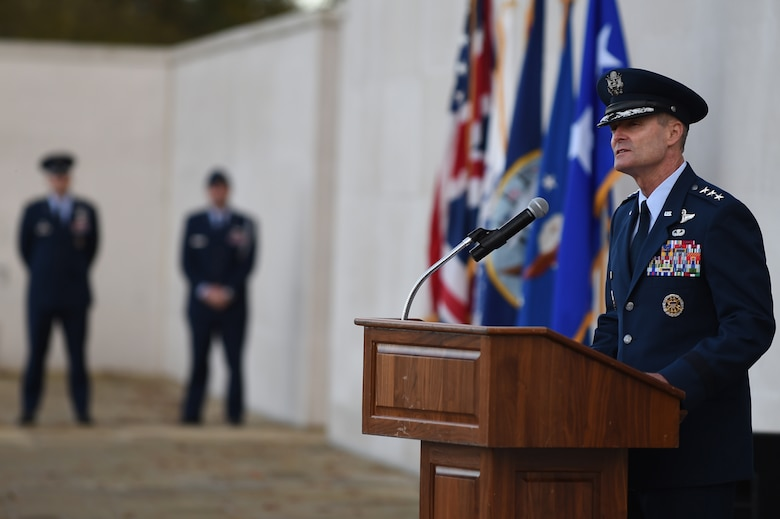 Lt. Gen. Darryl Roberson speaks Nov. 11, 2014, during a Veterans Day ceremony at Cambridge American Cemetery, England. Roberson joined American and Royal Air Force Service members, along with civilians and local leaders, to honor the dedication and sacrifices of veterans throughout history. Roberson is the commander of the 3rd Air Force. (U.S. Air Force photo/Staff Sgt. Jarad A. Denton)