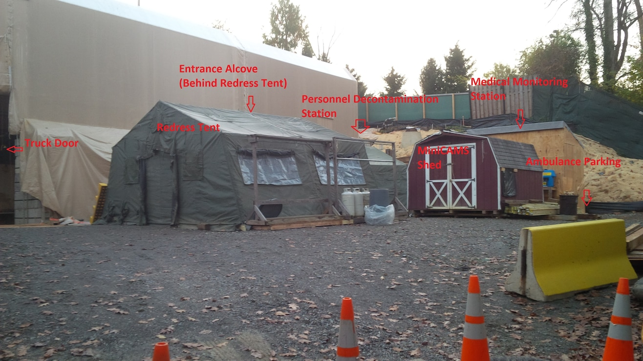 Property layout with Engineering Control Structure tent and support equipment in second location at 4825 Glenbrook Road.
