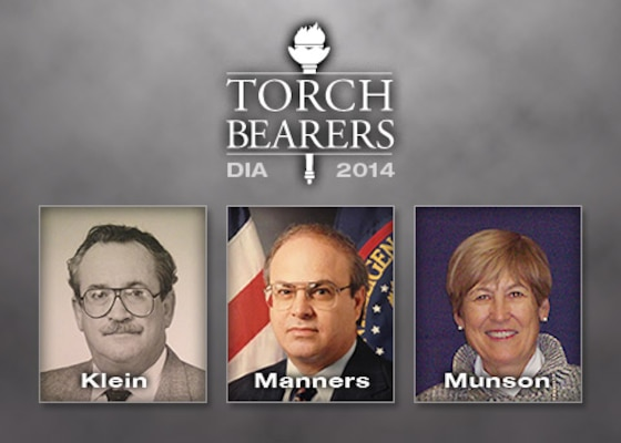 DIA 2014 Torch Bearers: Harry Klein, Alan Manners, and Margaret Munson