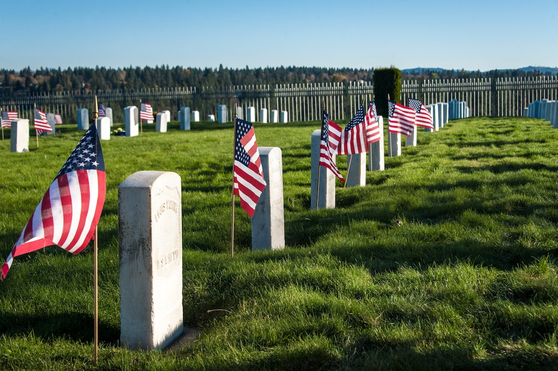 American flags whip around at the grave sites of fallen U.S. servicemembers on Veterans Day at Fort George Wright Veterans Cemetery, Nov. 11, 2014, in Spokane, Wash. Airway Heights' Veterans of Foreign Wars Post 3386 and Fairchild Air Force Base's Honor Guard and Boy Scout Troop 342 presented the colors, wreaths and honors during this Veterans Day ceremony that brought service and community members together. An Act approved May 13, 1938, made the 11th of November each year a legal holiday dedicated to the cause of world peace honoring Soldiers, Sailors, Marines and Airmen, American veterans, of all wars. (U.S. Air Force photo/Staff Sgt. Benjamin W. Stratton)