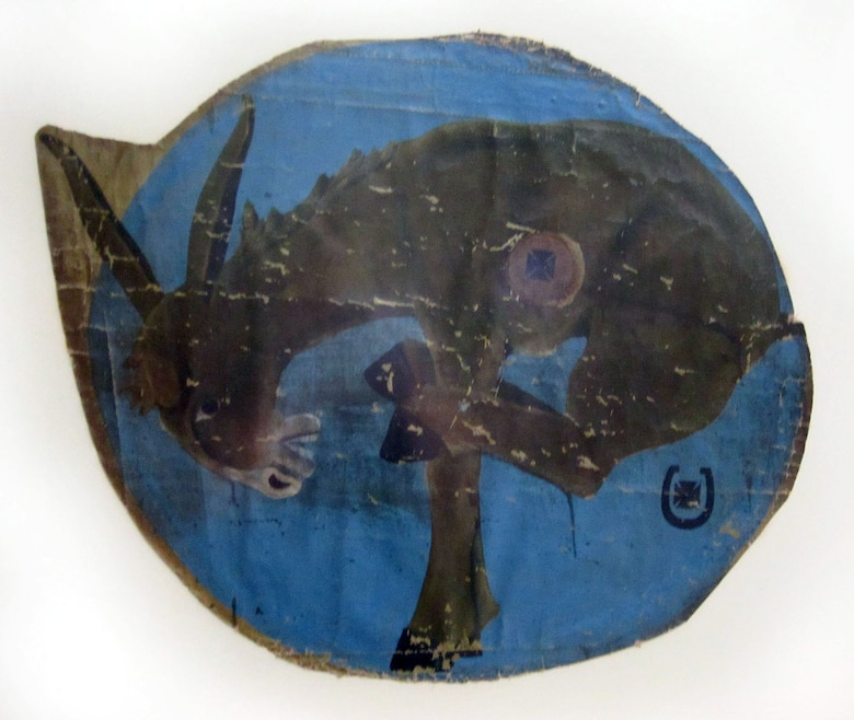 This is the aircraft insigne for the 95th Aero Squadron with which Lt. Quentin Roosevelt flew during his World War I service.This particular aircraft insigne was cut from the SPAD XIII aircraft in which Lt. Grover C. Vann was shot down on July 25, 1918; he died in the crash. (U.S. Air Force photo)