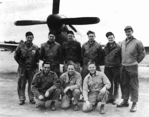 Neil Buley was one of the OreANG's early aircraft maintenance Caretakers, and a World War II Army Air Force veteran who served in the European Theater of Operations.  He is pictured here during the war along with other members of the 14th Photo Reconnaissance Squadron's Engineering Section and a P-51D Mustang fighter, added to the unit late in the war as an escort for its unarmed photo recon planes.  Left to right, kneeling are: S/Sgt. Sylvan Saul; T/Sgt. Shade B Kincer; T/Sgt. Edward W Nelson. Standing: Sgt. Arnold A Koskela; Sgt. William G Peterson; Sgt. Samuel C McKinney; Sgt. Cyril L Petty; S/Sgt. John F Campbell; T/Sgt. Neil O Buley.  (Courtesy of  Martin Kyburz, via Peter Randall, US 8th Air Force Little Friends website)