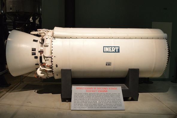 DAYTON, Ohio -- The Minuteman III Second Stage Rocket Engine on display in the Missile and Space Gallery at the National Museum of the U.S Air Force. (U.S. Air Force photo)