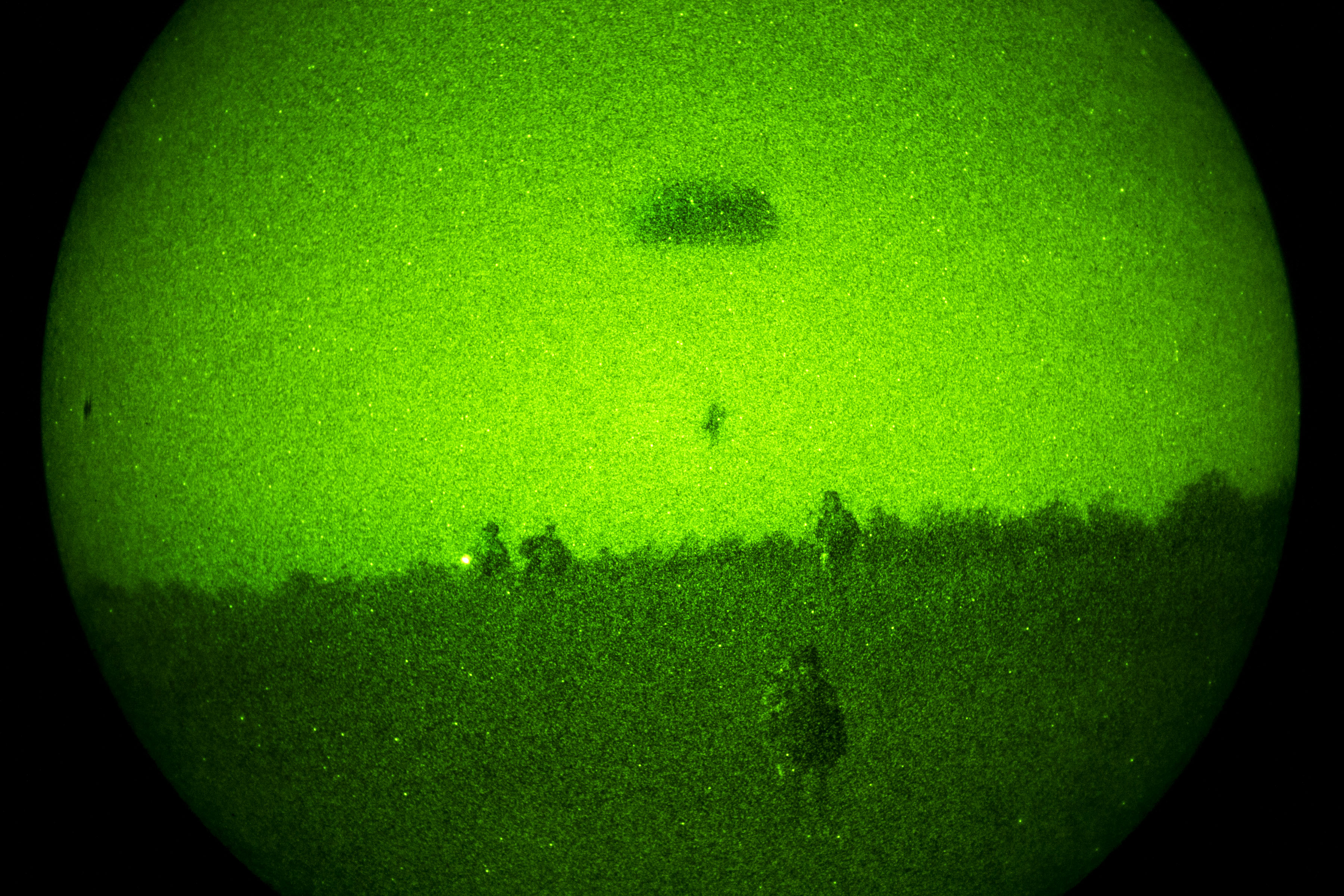 As seen through a night-vision device, Army Green Berets