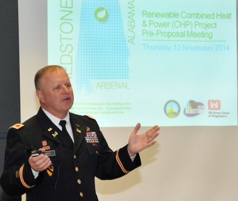 Col. Robert Ruch welcomes some 40 biomass industry representatives to this morning's pre-proposal meeting for Redstone Arsenal's renewable combined heat and power project. Huntsville Center is managing the acquisition for the Office of Energy Initiatives project.