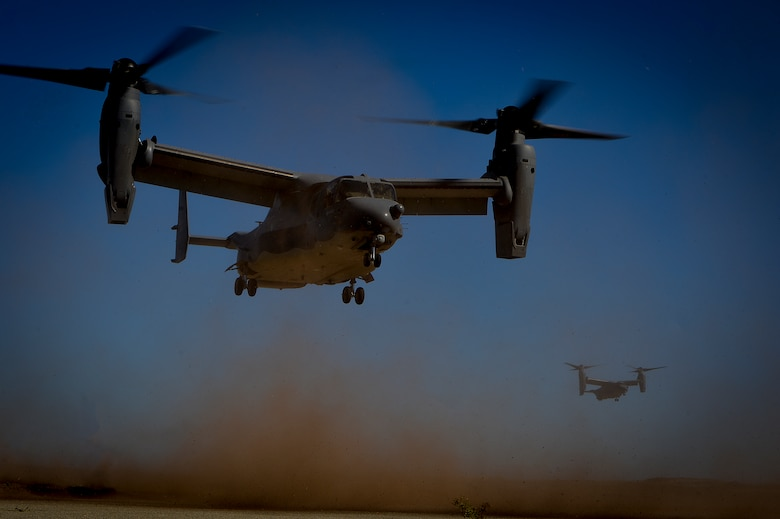 CV-22 Ospreys, from the 8th Special Operations Squadron, land at San Clemente Island, Calif., during exercise Carbonite Archer, Nov. 6, 2014. Carbonite Archer is an emergency deployment readiness exercise focusing on the 1st Special Operations Wing's ability to deploy aircraft and personnel anytime and anywhere in the world. (U.S. Air Force photo/Senior Airman Christopher Callaway)